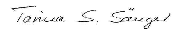 Unterschrift Tarina Sänger - Hormone Kassel